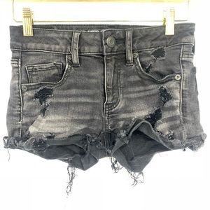 American Eagle Black Distressed Midi Shorts